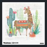 """Lovely Llamas III Wall Sticker<br><div class=""""desc"""">A soft,  watercolor with a llama standing among cacti. Artist: Mary Urban</div>"""