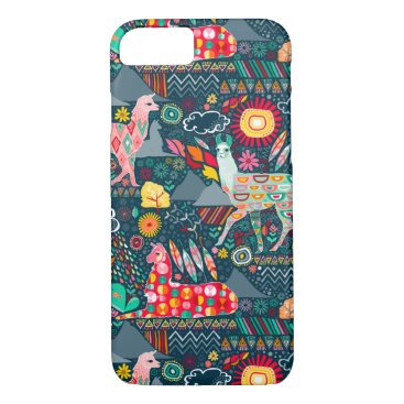 creativetaylor Lovely Llamas on Dark Teal iPhone 7 Case