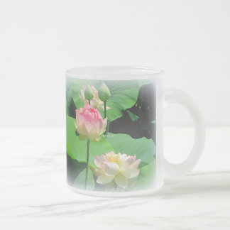 Lovely Lotus Flower & Bud Frosted Glass Mugs
