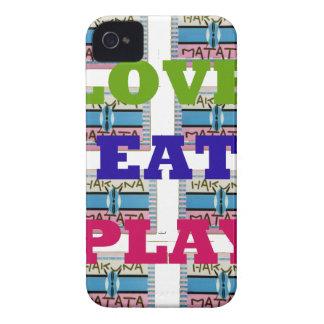 Lovely Love Eat Play Hakuna Matata Kenya shield gi iPhone 4 Case