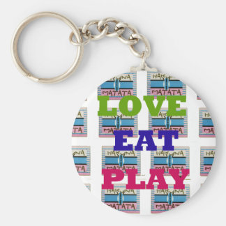 Lovely Love Eat Play Hakuna Matata Kenya shield gi Keychain