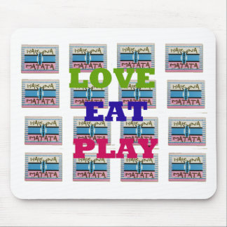 Lovely Love Eat Play Hakuna Matata Kenya shield gi Mouse Pad