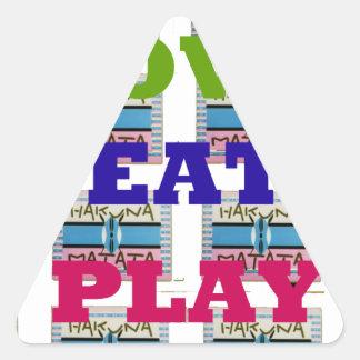 Lovely Love Eat Play Hakuna Matata Kenya shield gi Triangle Sticker