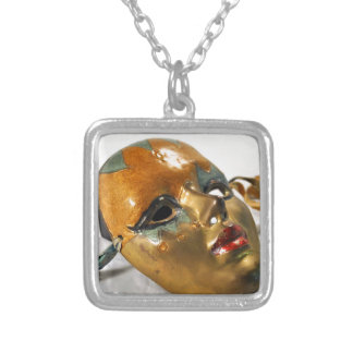 Lovely Mask Square Pendant Necklace