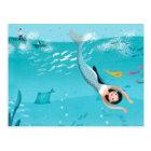 Lovely Mermaids in the Sea illustration Postcard