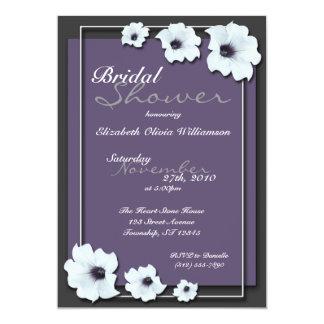 "Lovely Midnight Flowers ~ Bridal Shower invitation 5"" X 7"" Invitation Card"