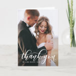 """Lovely Modern Calligraphy Wedding Photo Thank You<br><div class=""""desc"""">Stylish and whimsical vertical card to thank your guests for being a part of your wedding day. This customizable thank you postcard features white modern calligraphy overlay. This design is also available in other cards.</div>"""
