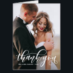 """Lovely Modern Calligraphy Wedding Photo Thank You Card<br><div class=""""desc"""">Stylish and whimsical vertical card to thank your guests for being a part of your wedding day. This customizable thank you postcard features white modern calligraphy overlay. This design is also available in other cards.</div>"""