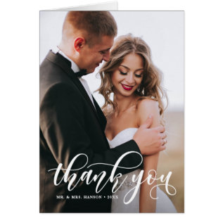 Lovely Modern Calligraphy Wedding Photo Thank You Card at Zazzle