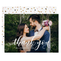 Lovely Modern Calligraphy Wedding Photo Thank You Invitation