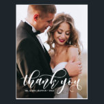 "Lovely Modern Calligraphy Wedding Photo Thank You Postcard<br><div class=""desc"">Stylish and whimsical vertical card to thank your guests for being a part of your wedding day. This customizable thank you postcard features white modern calligraphy overlay. This design is also available in other cards.</div>"