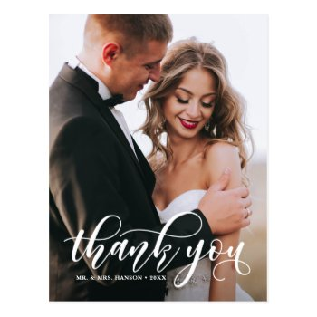 Lovely Modern Calligraphy Wedding Photo Thank You Postcard by misstallulah at Zazzle