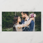 """Lovely Modern Calligraphy Wedding Thank You<br><div class=""""desc"""">The perfect card to thank your guests for being a part of your wedding day. This customizable thank you photo card features white modern calligraphy overlay. This design is also available in other cards.</div>"""