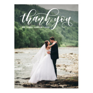 Lovely Modern Calligraphy Wedding Thank You Postcard