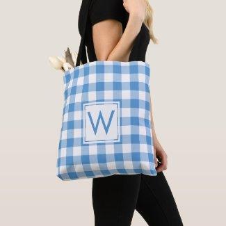 Lovely Monogram Light Blue White Gingham Pattern Tote Bag
