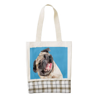 Lovely mops dog zazzle HEART tote bag