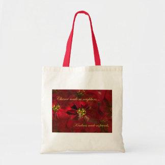Lovely Neighbor Christmas Poinsettia Gift Canvas Bags