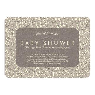 Lovely Neutral Beige Pattern Baby Shower Invite