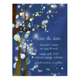 Lovely Night Blue Wedding Save the Date Postcards