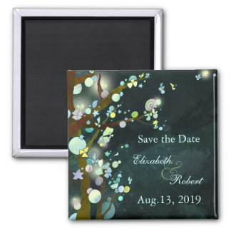 Lovely Night Elven Forest Wedding Save the Date 2 Inch Square Magnet