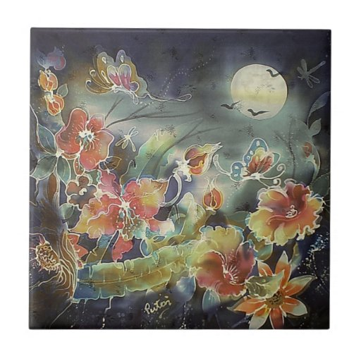 Lovely Night Garden Painting Small Square Tile
