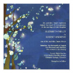 "Lovely Night in Blue Tree Theme Wedding Invitation 5.25"" Square Invitation Card"