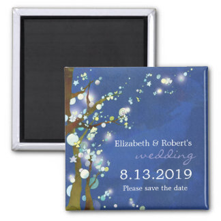 Lovely Night in Blue Winter Wedding Save the Date 2 Inch Square Magnet