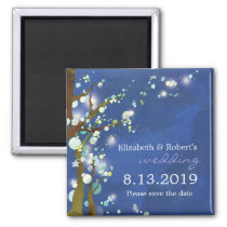 Lovely Night in Blue Winter Wedding Save the Date Magnet