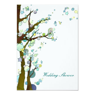 Lovely Night in White Tree Wedding Couple Shower Card