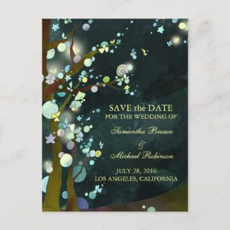 Lovely Night: Wedding Save the Date Postcards