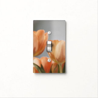 Lovely, orange cream tulips, light switch cover.