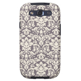 lovely ornate ivory on grey taupe damask samsung galaxy s3 covers
