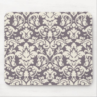 lovely ornate ivory on grey taupe damask mouse pad