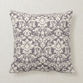 lovely ornate ivory on grey taupe damask throw pillow