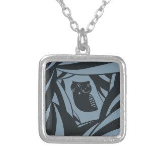 Lovely owl background with camera lense eyes square pendant necklace