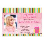 "Lovely Owl Look Whos Birthday Invitation 5"" X 7"" Invitation Card"