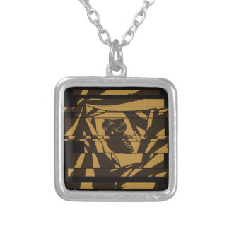 Lovely owl on background with camera eyes square pendant necklace