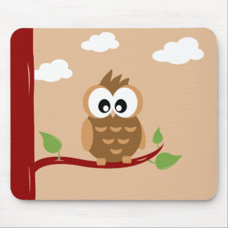 Lovely Owl with Bright Eyes Mouse Pad