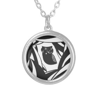 Lovely owl with camera eyes round pendant necklace