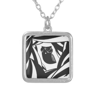 Lovely owl with camera eyes square pendant necklace