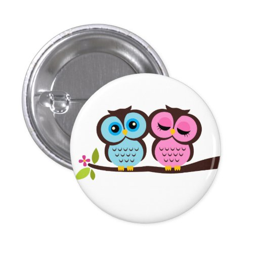 Lovely Owls 1 Inch Round Button
