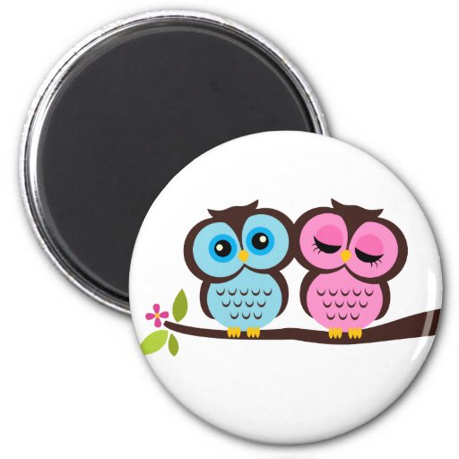 Lovely Owls 2 Inch Round Magnet
