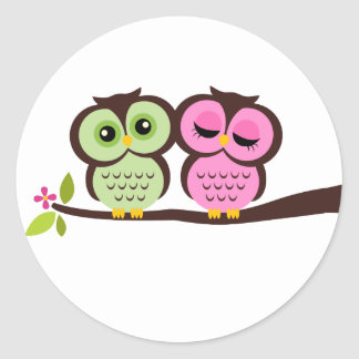 Lovely Owls Classic Round Sticker