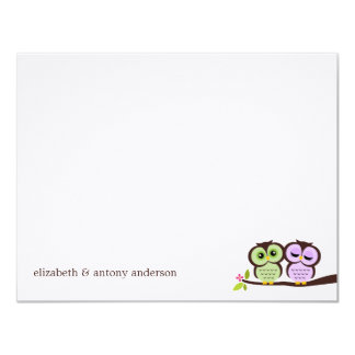 Lovely Owls Custom Flat Thank You Notes Card