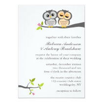 Lovely Owls Custom Wedding Card