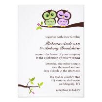 Lovely Owls Custom Wedding Card