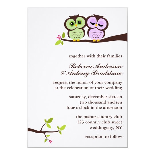Lovely Owls Custom Wedding Invitation