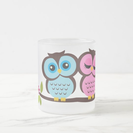 Lovely Owls Frosted Glass Coffee Mug