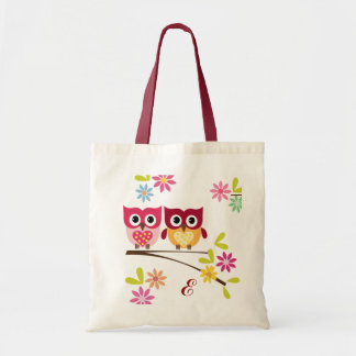 Lovely Owls in Love Personalized Tote Bag