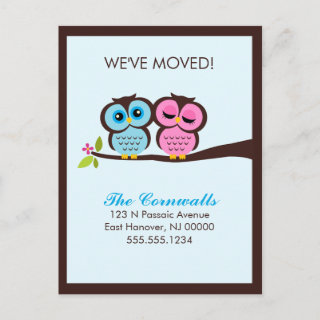 Lovely Owls Moving Announcements Post Cards